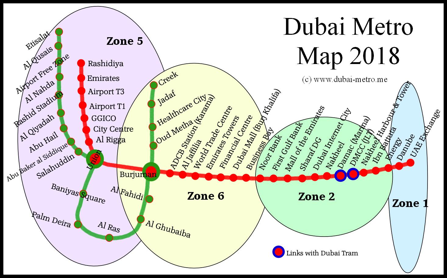 Dubai Metro Zones   Dubai Metro Information